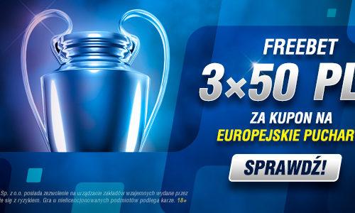 Europejskie Puchary – trzy dni, trzy freebety w Betcris